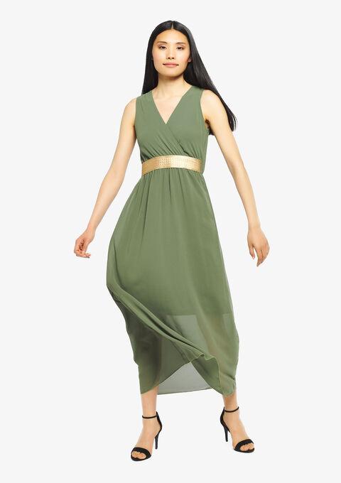 Effen max-jurk met cache coeur-hals - KHAKI CLIMBING - 08600142_4203