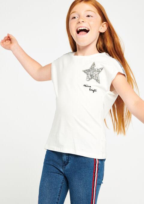 Effen t-shirt met lovertjes - IVORY WHITE - 909952