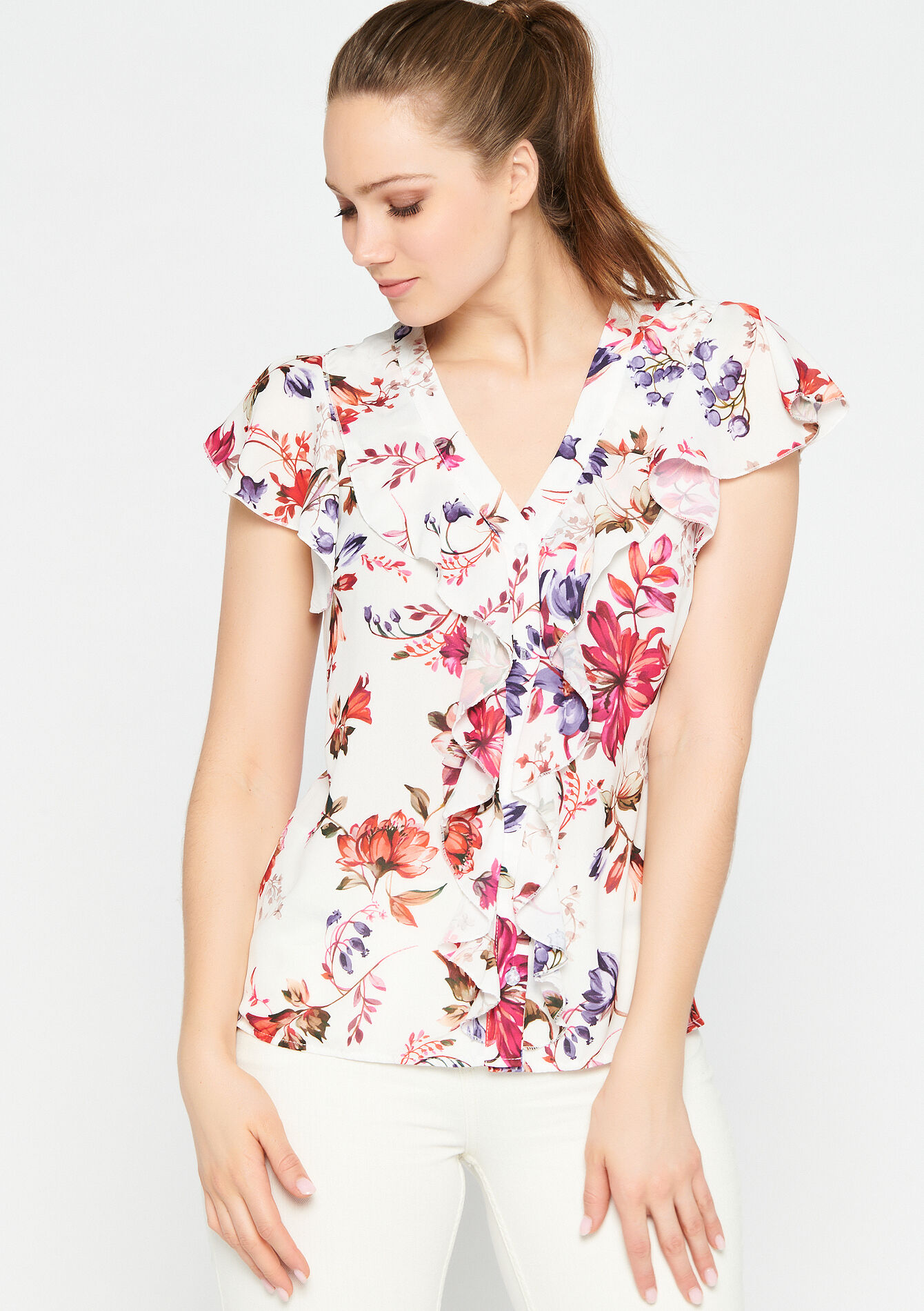 Blouse bloemenprint ruches - NATURAL WHITE - 05701423_2510