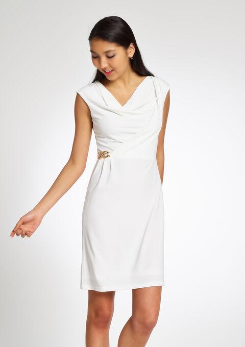 4f6a0e0e448163 Effen gedrapeerde jurk met gesp - IVORY WHITE - 805548