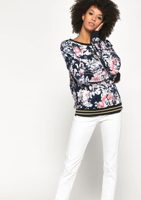 Sweatshirt with flower print - NAVY POWER - 03001499_2719