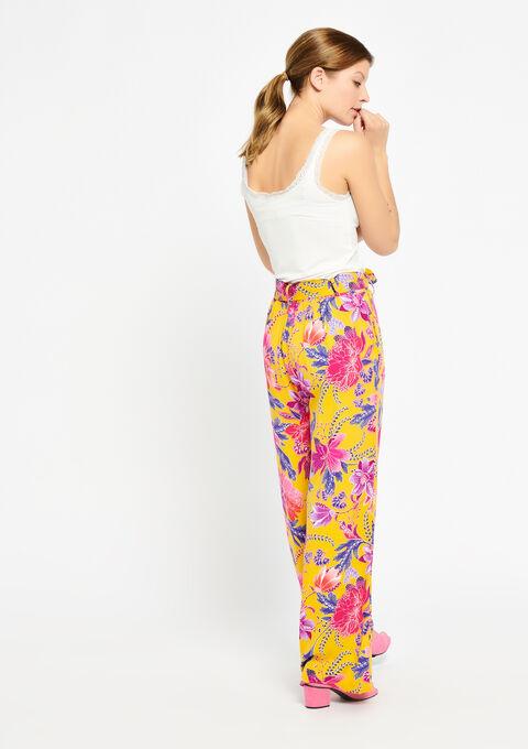 Wijde broek met bloemenprint - LEMON CURRY - 06600071_1237