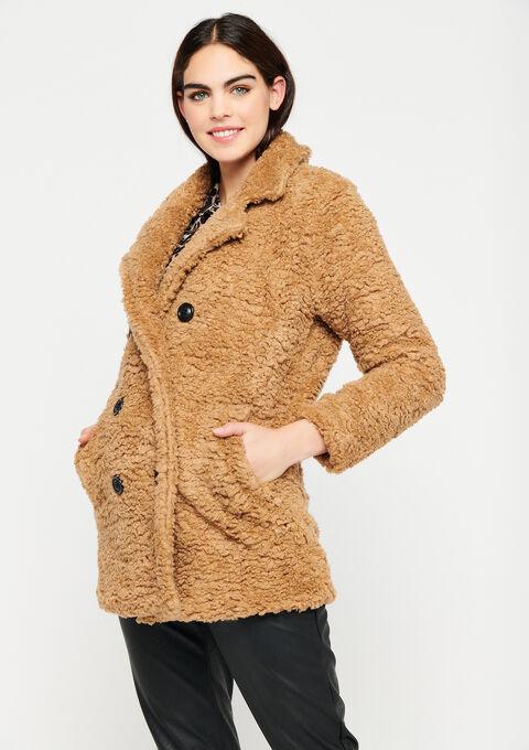 Mantel met imitatiebont - CAMEL BROWN - 23000192_3818