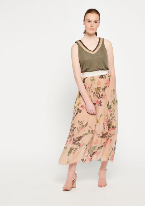 Silk maxi-skirt with print - PINK BLADE - 07100190_5715