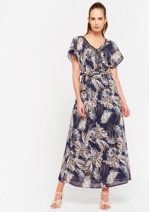 Maxi jurk met bloemenprint en V-hals - NAVY POWER - 08601041_2719