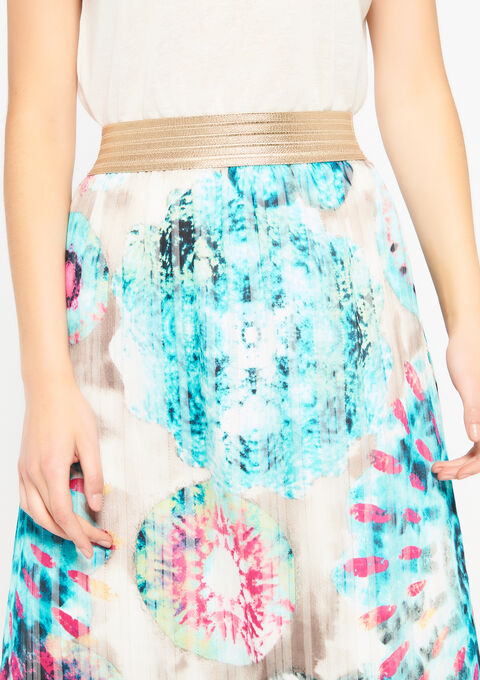 Lange rok met tie dye print - LIGHT GREEN - 07100219_1822