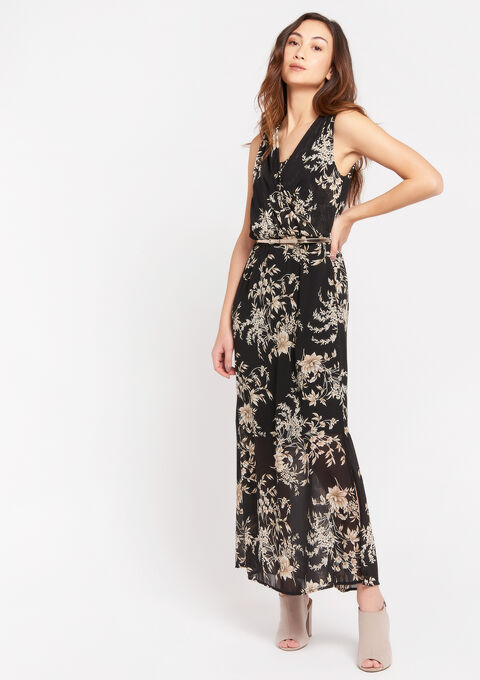 Maxi jurk met bloemenprint - BLACK BEAUTY - 08601035_2600