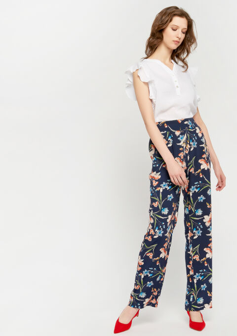 Wijde broek met bloemen - INDIGO BLUE - 06600113_1658
