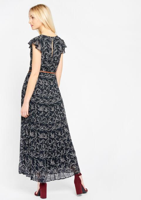 Lange jurk met print, riem - BLACK - 08600057_1119