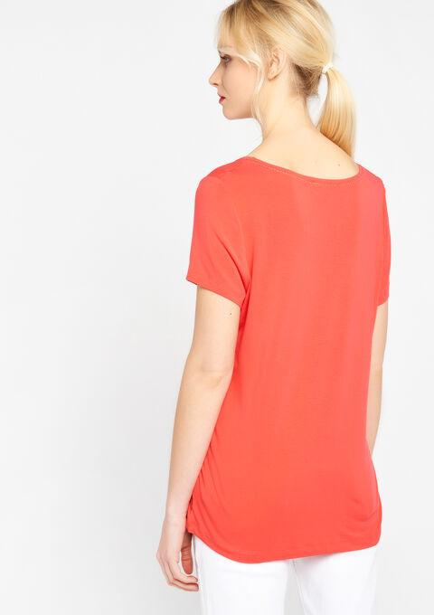 T-shirt met ronde hals & korte mouwen - CORAL GERBERIA - 02300083_5405
