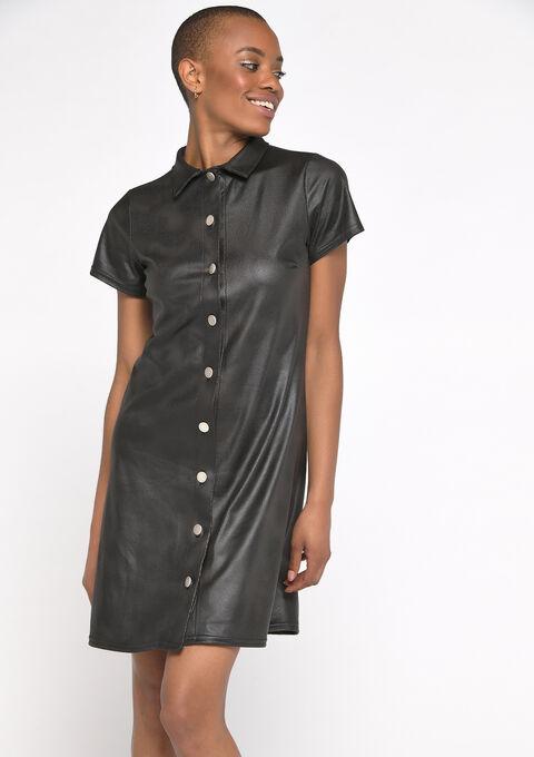 Hemd jurk met imitatieleer - BLACK BEAUTY - 08102144_2600