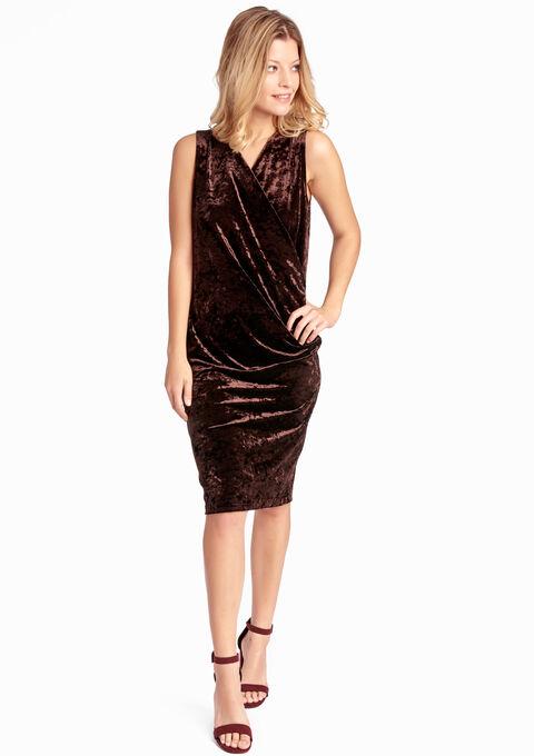 aacfdb124e6f58 Fluwelen jurk met wikkeleffect - BRONZE - 888677
