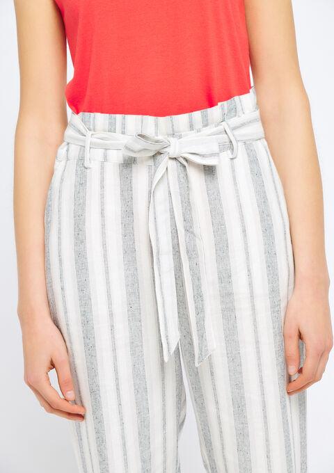 Gestreepte linnen broek - WHITE ALYSSUM - 927502