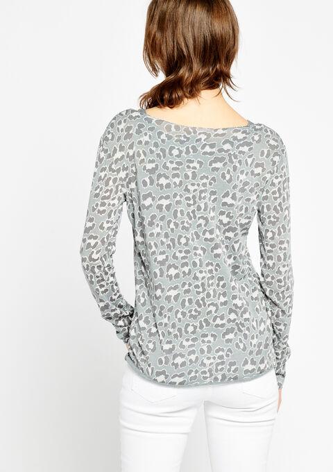 T-shirt met boothals en luipaardprint - GREY DRIZZLE - 02400058_2021