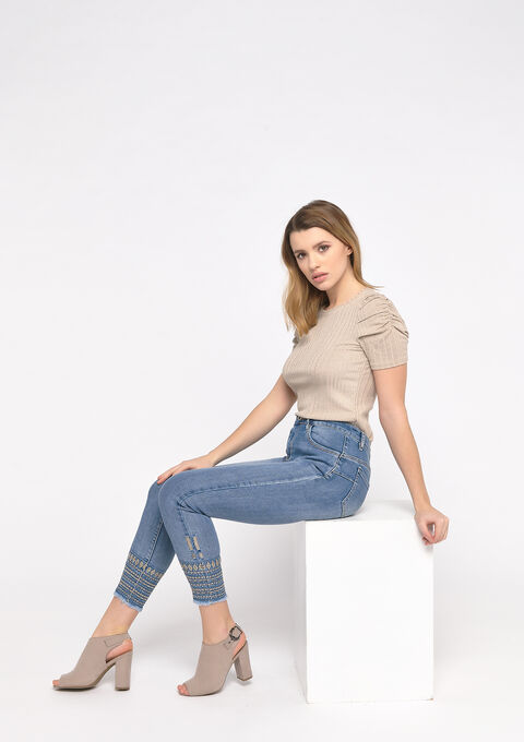 Skinny jeans met borduurwerk - MEDIUM BLUE SKY - 22000199_1583
