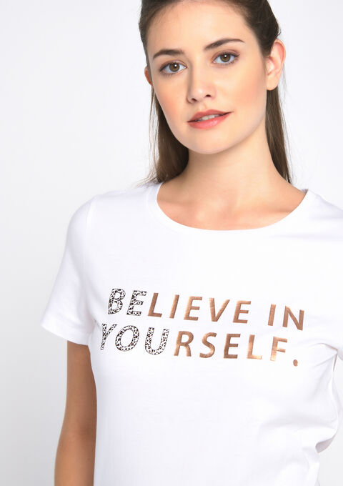 T-shirt imprimé texte - OPTICAL WHITE - 02300398_1019