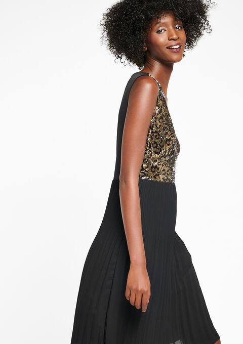 Jurk met gouden lovertjes, luipaard - BLACK - 08006050_1119