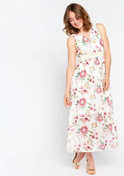 Lange jurk, bloemenprint, cache coeur - PINK CALM - 08600120_4102
