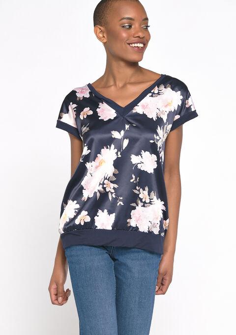 T-shirt met bloemenprint - NAVY POWER - 02300660_2719