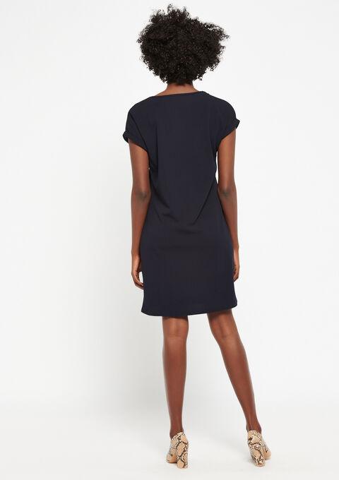 Rechte jurk met v-hals - NAVY MARINE - 08100667_1650