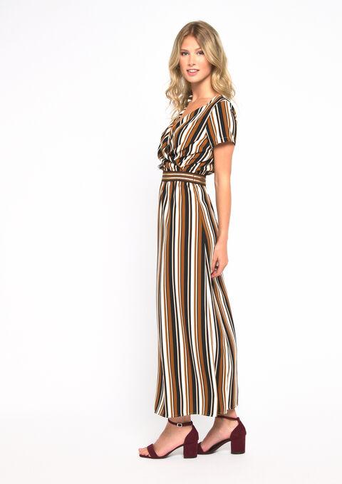 Gestreepte lange jurk - SOFT CAMEL - 08600972_1120