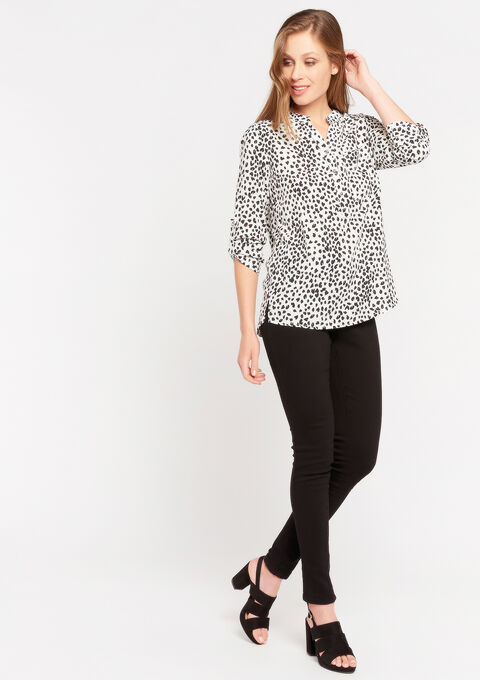 Blouse met knoopjes en print - NATURAL WHITE - 05701431_2510