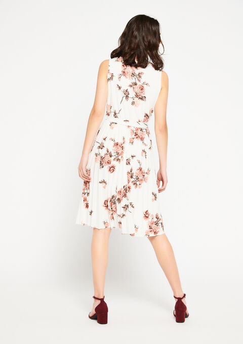 Cache coeur jurk met rozenprint - OFFWHITE - 08101025_1001