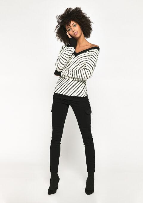 Gestreepte sweater met lurex - NATURAL WHITE - 03001473_2510