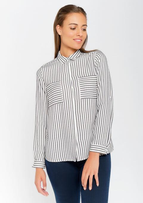 Gestreepte blouse met zakken - BLACK BEAUTY - 05700520_2600