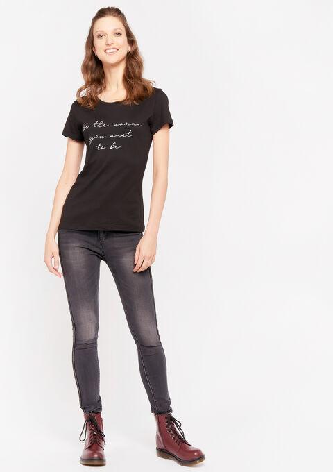 T-shirt met slogan - BLACK - 02300530_1119