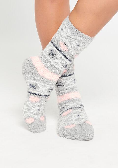 Fluffy sokjes met noors motief - GREY DOVE - 912878