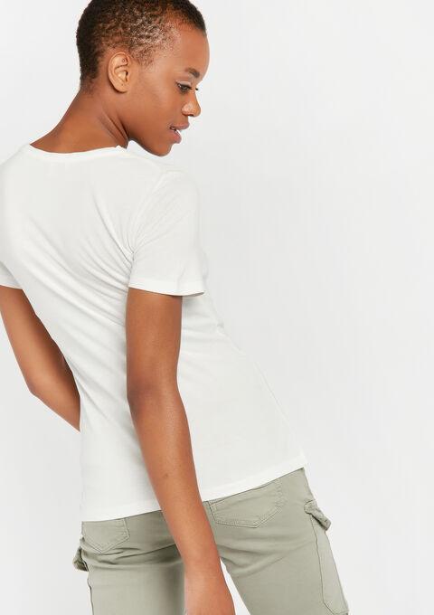 Effen korte mouwen t-shirt - WHITE ALYSSUM - 02300251_2502