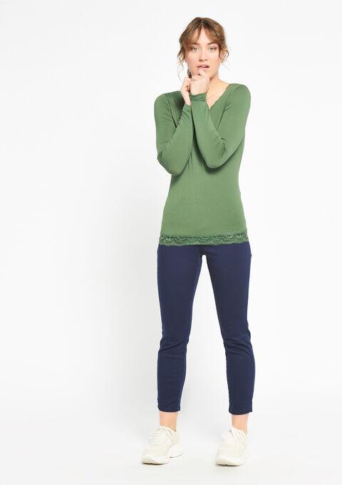 T-shirt met lange mouwen en kant - KHAKI DARKY - 933512