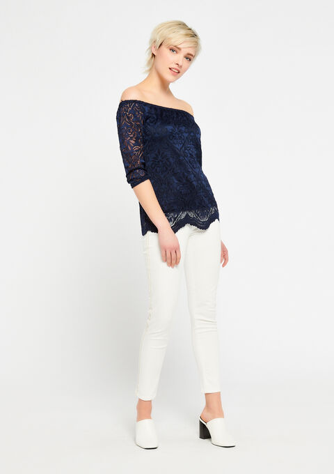 Kanten blouse met open schouders - BLACK IRIS - 943757