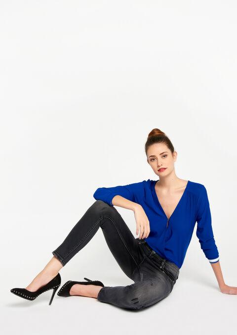 Slim jeans, destroyed effect, lurex - BLACK - 22000092_1119