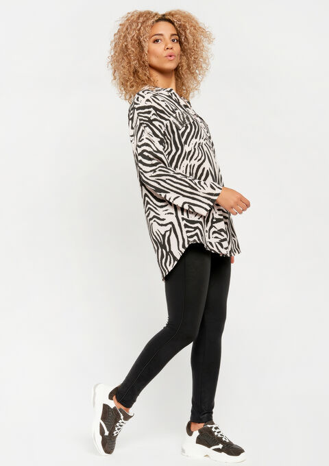 Blouse in voile met zebraprint - PINK BLADE - 05700297_5715