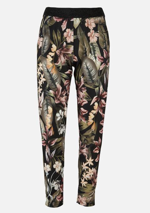Losse broek met bloemenprint - BLACK - 06600370_1119