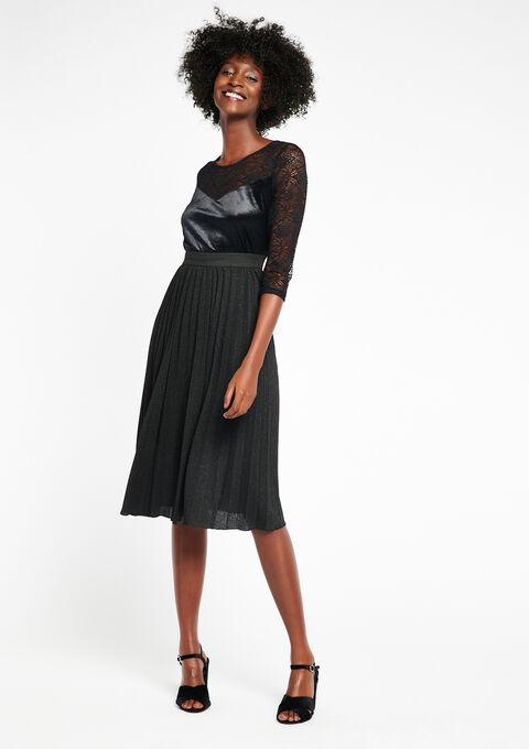 Halflange rok , lurex - BLACK - 07100127_1119