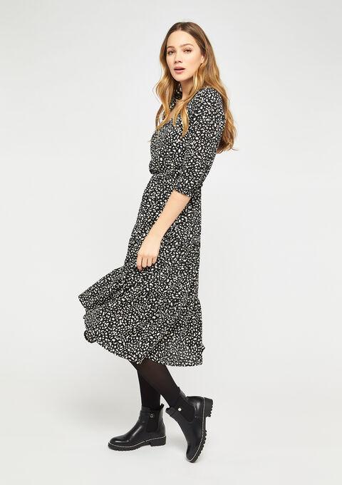 Hemd jurk met luipaard print - BLACK - 08600996_1119