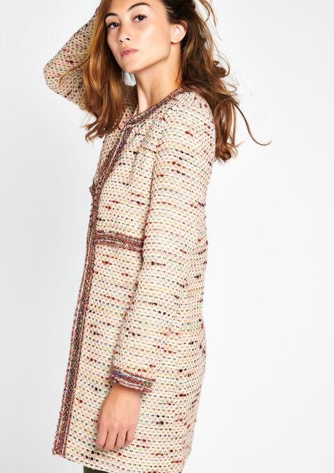 Lange vest in tweed + lurex - OFFWHITE - 09100050_1001