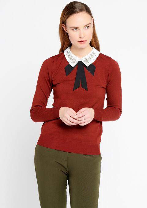 Trui met versierde hemdskraag - FIRED RED - 04004727_1442