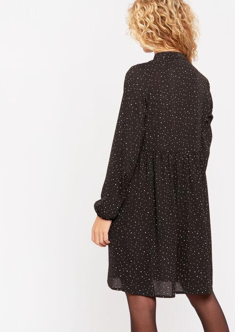 Gestippelde jurk met ruches - BLACK - 08102007_1119