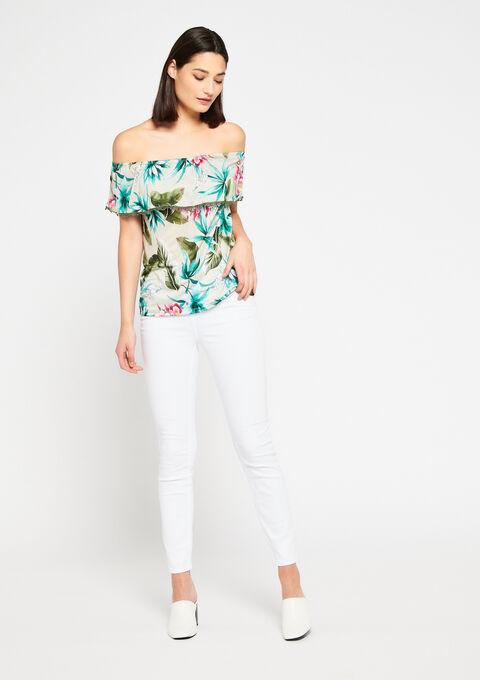 Carmen t-shirt met tropische print - KHAKI DARKY - 02100154_4208