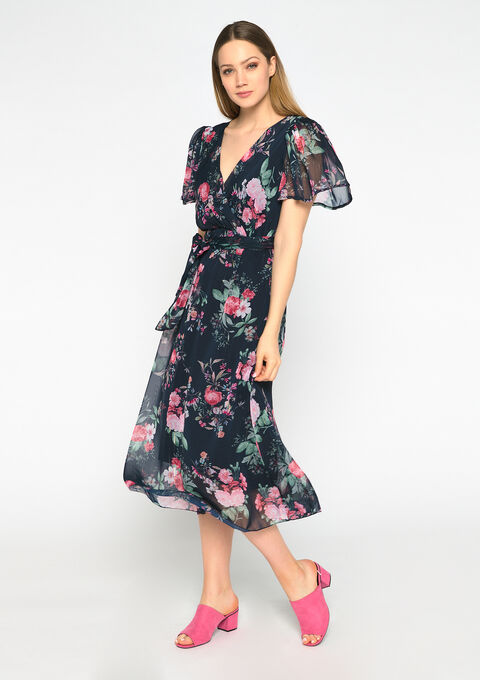 Maxi jurk bloemenprint - NAVY DARK - 08601088_1714