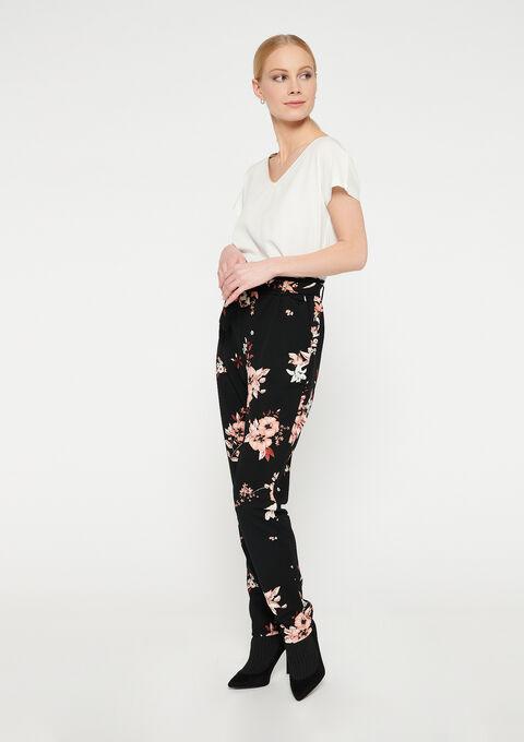 Losse broek met bloemenprint - BLACK BEAUTY - 06600369_2600