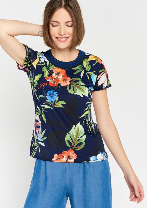 T-shirt met ronde hals & bloemenprint - NAVY BLUE - 02300253_1651