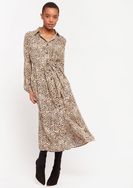 Shirt dress with leopard print - BEIGE BROWN - 08601042_4014