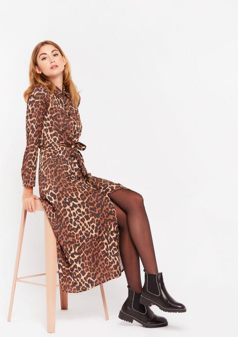 Shirt dress with leopard print - CAMEL BROWN - 08601039_3818