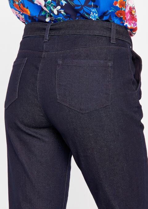 Bootcut jeans met riem - DARK BLUE - 22000030_501