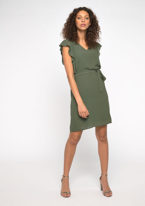 Mini jurk ruches - KHAKI FIG - 08101235_4305